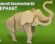 ELEPHANT WOODCRAFT CONSTRUCTION 3D ANIMAL PUZZLE MODEL KIT, BRAND NEW