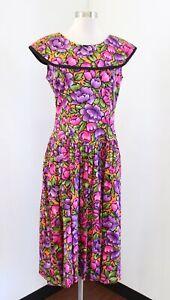 Vtg 80s 90s Floral Print Drop Waist Dress Size 10 Retro Modest Bow Purple Pink