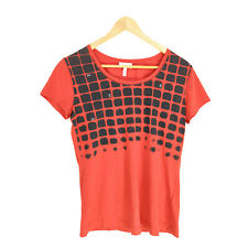 Escada Sport Top T-Shirt Women's Medium Red Black Short Sleeve Cotton