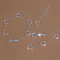 Heart Link Chain Necklace and Bracelet Set 925 Sterling Silver NEW
