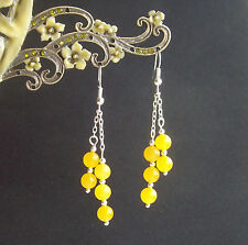Pretty Yellow Quartz Bead Dangly Chain Silver Plated Drop Earrings