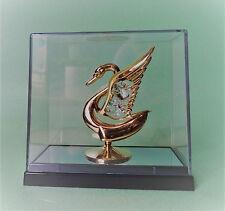 Schwan im Geschenkebox mit Swarowski Kristallen Bestückt Gold Plattiert Deko Neu