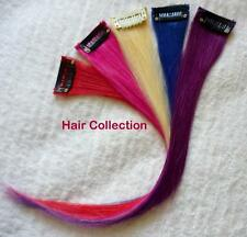 "12""Purple,Blue,Red,Pink,Blond Human Hair Clip in Extensions for Highlights(5pcs)"