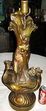 Antique Pompeian Bronze Clad Art Nouveau Nude Lady Deco Statue Sculpture Lamp