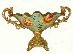 Pedestal & handle ceramic & resin bowl / Home Decorative