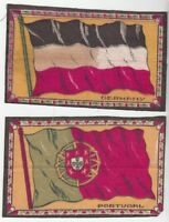 [42653] SET OF 2 OLD TOBACCO FELTS FLAGS OF GERMANY & PORTUGAL