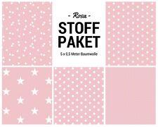 Stoffpaket rosa 5x (0,5 x 1,50m) Patchworkpaket Baumwolle Nähpaket DIY Stoffe