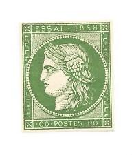 1858 ALBERT CERES ESSAI IN GREEN IMPERF THIN PAPER UNUSED NO GUM REF 1279