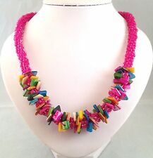 Handmade Mix Colour Seashell Chips Fuschia Seed Beads Kumihimo Braiding Necklace