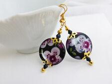 Pretty Pink & Black Flower Shell Drop Dangle Pierced Earrings, Gold Plated Hook