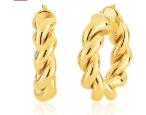 9ct Yellow Gold Silver Filled Twisted Braid 20mm Hoops Earrings