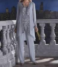 Mother Bride Groom Women's Wedding beaded dress 3PC duster pant set suit size XL