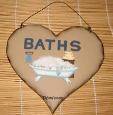 Wood Sign Heart Plaque Decor Country Primitive BATHS Bathroom