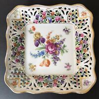 VTG Reticulated Square Bowl Candy Dish Schumann Dresden Germany EUC Gilding