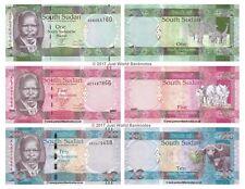 South Sudan 1 + 5 + 10 Pounds 2011 Set of 3 Banknotes 3 PCS UNC