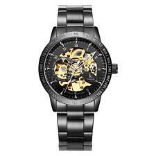 Mens IK COLOURING Skeleton Steampunk Self-Wind Mechanical Watch Gold 98226G E5U2