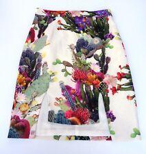 Bluejuice Lady Skirt Sz 8 Pencil Lined Funky Cacti Print Asymmetric Front Slits