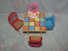 Fisher Price Loving Family Dollhouse Kitchen Table Set Child Seats - Red Chairs