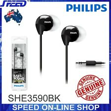 PHILIPS SHE3590BK Headphones Earphones - Extra Bass - BLACK Color - GENUINE