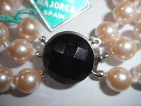 3 Strand 8mm White Majorca Pearl BRACELET Faceted Black glass clasp Mint unused