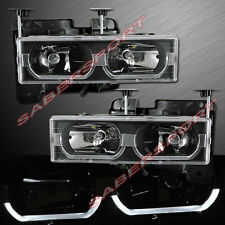 Black Euro Clear Headlights w/ LED Bar for 1988-1999 GMC Chevy C/K Full Size
