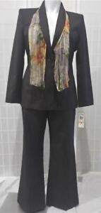 $240 New Vintage Le Suit Sz 14 Chocolate Brown Pinstripe Pant Suit