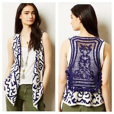 Anthropologie MOTH Turson Netted Fringe Tassel Sweater Vest Blue White M / L