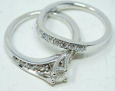 14K White Gold Diamond Wave Bridal Ring Set - Size 7.5 - Total Weight 6.1 Gram