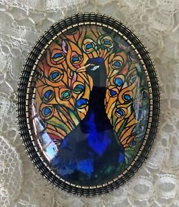 PEACOCK Glass Dome BROOCH Pin Vintage BRONZE OR SILVER Tiffany Stained Glass