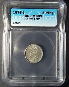1876-J Germany 5 Pfennig - Hamburg Mint - ICG MS 63