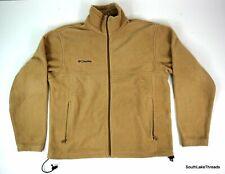Men's Fleece Columbia Full Zip Jacket Beige Tan Size Medium