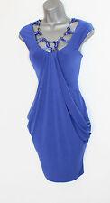 Karen Millen Purple Silky Jersey Harem Style Embellished Neck Gorgeous Dress 10