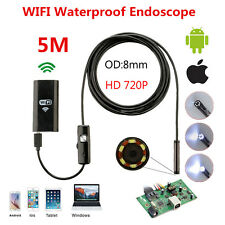 5M 8mm WIFI Waterproof Endoscope Borescope Inspection Camera for Andriod Iphone