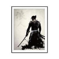 Schwarz-Weiß japanische Samurai Kunst Malerei Bild Home Wall Poster Dekor L7O5