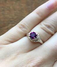 Ring/Retro Silver Tone/Amethyst Look Vintage Antique Design Purple Stone
