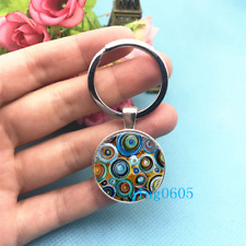 Blue Circle Art Photo Tibet Silver Keychains Rings Glass Cabochon Key chain -48