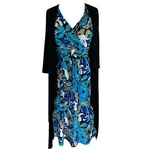 David Emanuel floral stretchy Dress with attached cardigan, Size 12, EXC CON