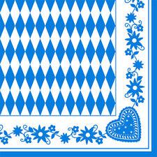"""50 Servietten 1/4-Falz 40 cm x 40 cm """"Bayrisch Blau"""" Oktoberfest- 10646"""