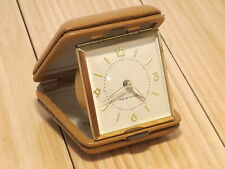 Vintage Genuine Leather Wind-up Westclox Travel Alarm Clock Germany Working 100%