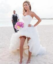 Sexy Front Short Long Back White Wedding Dress Organza Bridal Gown Custom Size