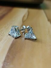 4Ct Trillion Cut Sparkle VVS1 Diamond Solitaire Stud Earrings 14K White Gold FN