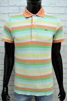 Polo Maglia a Righe Uomo LACOSTE Taglia 3 ( S )  Maglietta Manica Corta Shirt