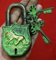 Vintage Lion Design Brass Padlock Handmade Safety Door Lock With 2 Keys GK 542