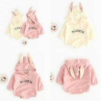 Baby Boys Girls Cotton Romper One-Piece Rabbit Costumes Hooded Bodysuit Clothes