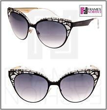 210285dfc14 JIMMY CHOO ESTELLE Black Crystal Lace Mirrored Cat Eye Sunglasses ESTELLE S