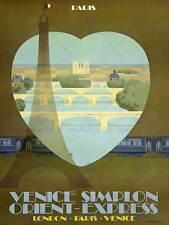 ORIENT EXPRESS VENEZIA Parigi TUNNEL Rail Train Torre Eiffel Vintage Poster 994py