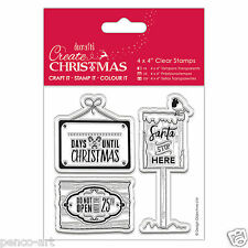Papermania clear stamp set Create 12 days of Christmas, Signs 'Santa stop here'