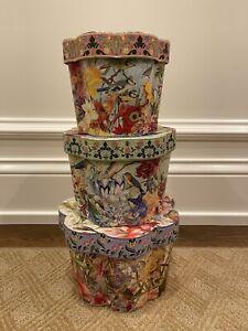Set of 3 Punch Studio Fluted Round Nesting Boxes - EUC