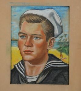 Vintage Pastel Drawing - Young Navy Sailor WWII on Tropical Island - Slater