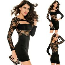 Sz 8 10 Black Lace Long Sleeve Dance Party Club Formal Chic Mini Slim Fit Dress